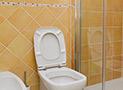 Il bagno con box doccia dell'appartamento Ponente