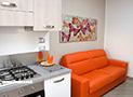 Il divano letto dell'appartamento Tramontana
