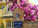 Un particolare dell'ingresso avvolto da fiori del Residence Blue Marlin